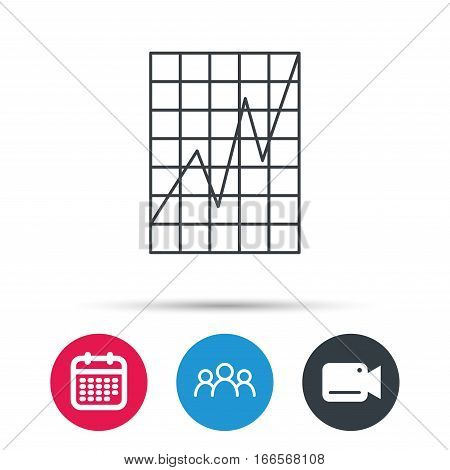 Chart curve icon. Graph diagram sign. Demand growth symbol. Group of people, video cam and calendar icons. Vector