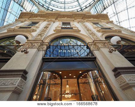 Prada Store In Galleria Vittorio Emanuele Ii Arcade In Milan