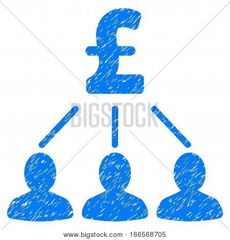 Pound Shareholders grainy textured icon for overlay watermark stamps. Flat symbol with unclean texture. Dotted vector blue ink rubber seal stamp with grunge design on a white background.