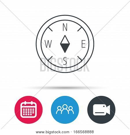 Compass navigation icon. Geographical orientation sign Group of people, video cam and calendar icons. Vector
