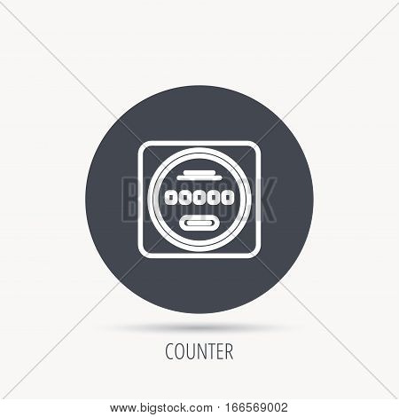 Electricity power counter icon. Measurement sign. Round web button with flat icon. Vector