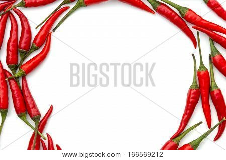 Red hot peppers arranged in circle along perimeter white background