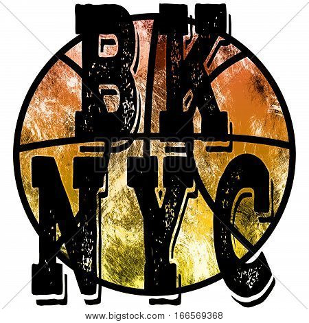 New York city Brooklyn basketball art. Street graphic style NYC. Fashion stylish print. Template apparel card label poster. Sport wear emblem t-shirt stamp graphics athletic apparel design.