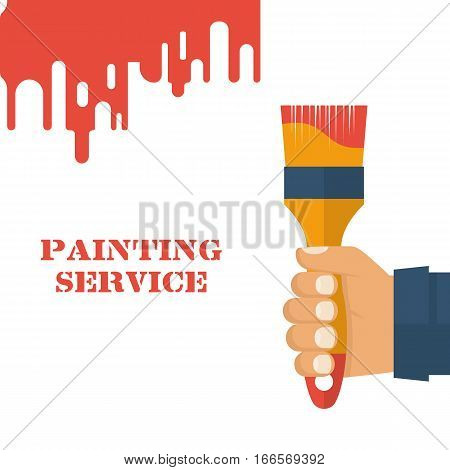 Paint brush hold in hand human. Template design painting service. Renovation recover concept. Vector illustration. Advertising and promotion. Flat style. Isolated on white background.