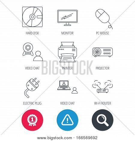 Achievement and search magnifier signs. Monitor, printer and wi-fi router icons. Video chat, electric plug and pc mouse linear signs. Projector, hard disk icons. Hazard attention icon. Vector