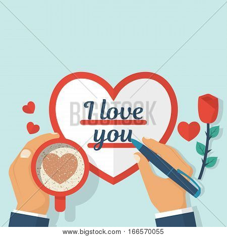 Lover Writing A Valentine I Love You