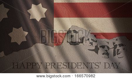Happy Presidents Day. Usa Flag and Mount Rushmore on Cracked Concrete Wall