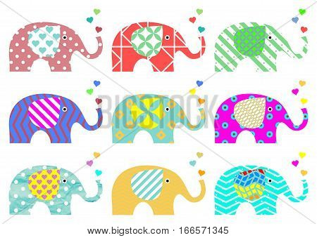 Sweet vintage elephants with hearts on proboscis. Retro pattern. Textures and geometric shapes. Nine different colors and designs.