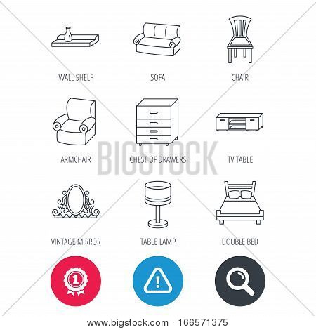 Achievement and search magnifier signs. Double bed, table lamp and armchair icons. Chair, lamp and vintage mirror linear signs. Wall shelf, sofa and chest of drawers furniture icons. Vector