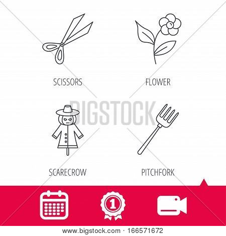 Achievement and video cam signs. Scissors, flower and pitchfork icons. Scarecrow linear sign. Calendar icon. Vector