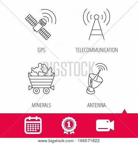 Achievement and video cam signs. Telecommunication, minerals and antenna icons. GPS satellite linear sign. Calendar icon. Vector