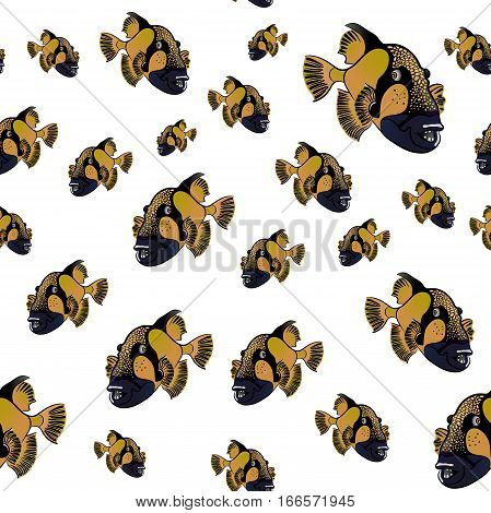 Titan triggerfish pattern, Balistoides viridescens red sea fish poster