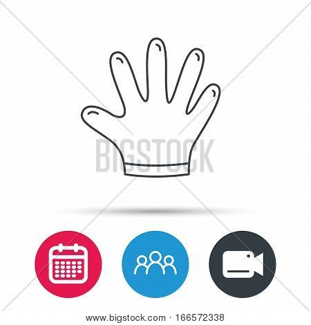 Rubber gloves icon. Latex hand protection sign. Housework cleaning equipment symbol. Group of people, video cam and calendar icons. Vector