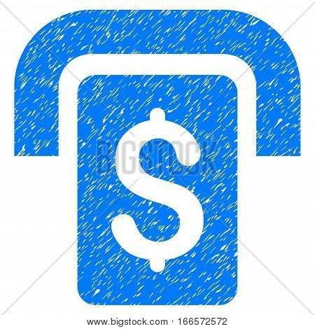 Cashpoint grainy textured icon for overlay watermark stamps. Flat symbol with scratched texture. Dotted vector blue ink rubber seal stamp with grunge design on a white background.