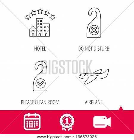 Achievement and video cam signs. Hotel, airplane and do not disturb icons. Clean room linear sign. Calendar icon. Vector