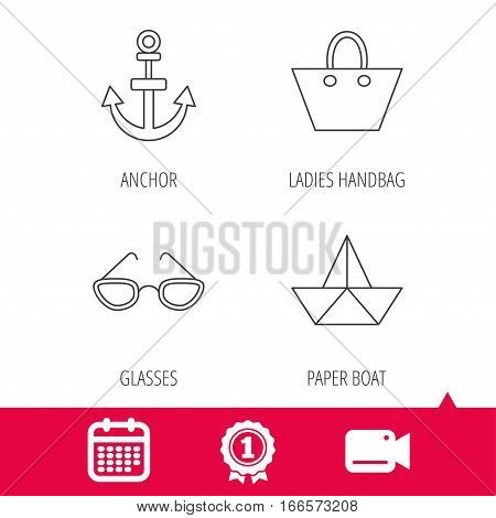 Achievement and video cam signs. Paper boat, anchor and glasses icons. Ladies handbag linear sign. Calendar icon. Vector