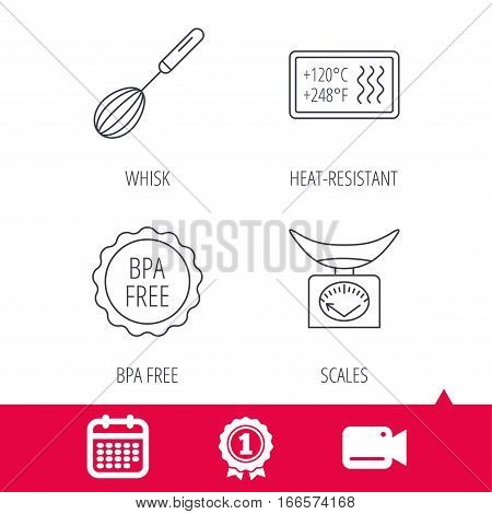 Achievement and video cam signs. Kitchen scales, whisk and heat-resistant icons. BPA free linear sign. Calendar icon. Vector