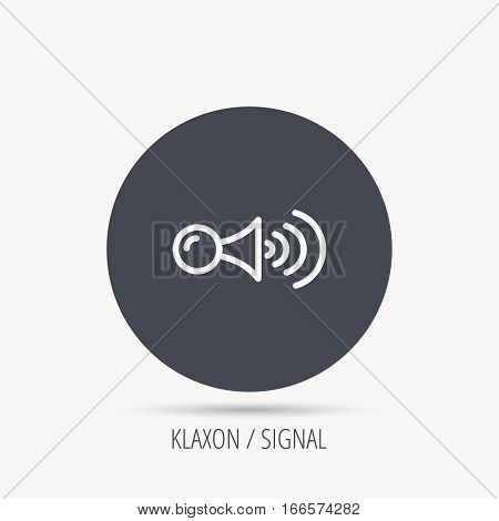Klaxon signal icon. Car horn sign. Round web button with flat icon. Vector