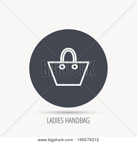 Ladies handbag icon. Elegance women accessory sign. Round web button with flat icon. Vector