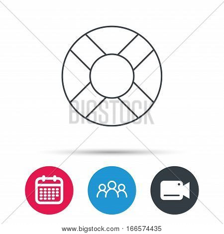 Lifebuoy icon. Lifebelt sos sign. Lifesaver help equipment symbol. Group of people, video cam and calendar icons. Vector