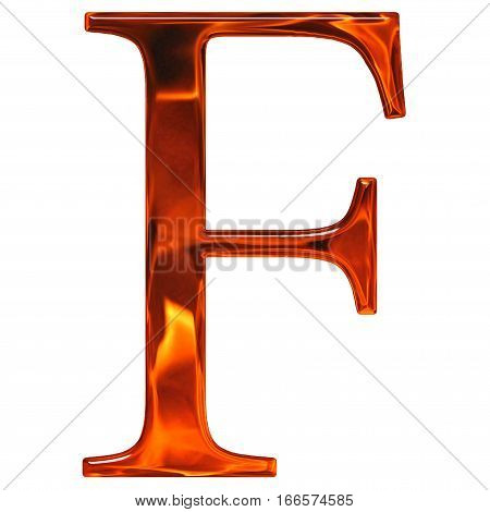 Uppercase Letter F - The Extruded Of Glass With Pattern Flame, Isolated On White Background