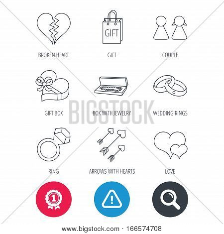 Achievement and search magnifier signs. Love heart, gift box and wedding rings icons. Broken heart and couple linear signs. Valentine amour arrows flat line icons. Hazard attention icon. Vector