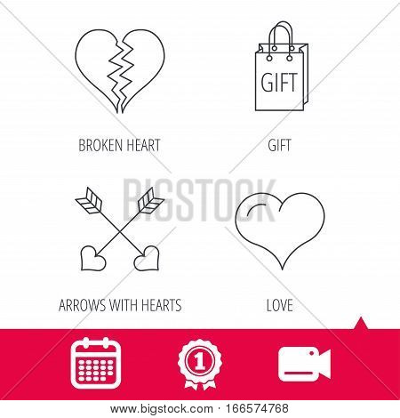 Achievement and video cam signs. Love heart, gift box and arrows icons. Broken heart or divorce linear signs. Calendar icon. Vector