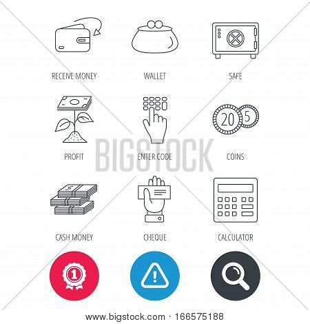 Achievement and search magnifier signs. Cash money, safe box and calculator icons. Safe box, cheque and dollar usd linear signs. Profit investment, wallet and coins icons. Hazard attention icon