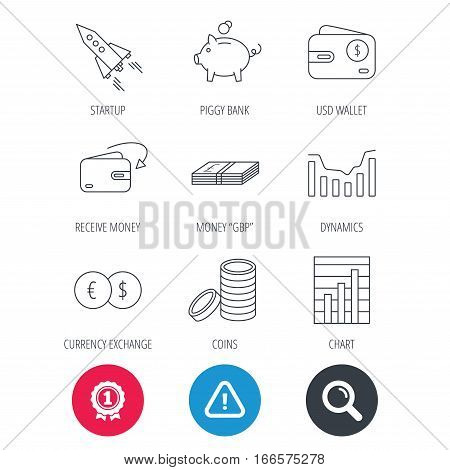 Achievement and search magnifier signs. Piggy bank, cash money and startup rocket icons. Wallet, currency exchange and dollar usd linear signs. Chart, coins and dynamics icons. Hazard attention icon