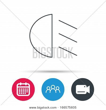 Passing light icon. Dipped beam sign. Group of people, video cam and calendar icons. Vector