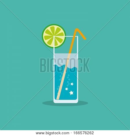 Refreshing non-alcoholic or alcoholic drink with a slice of citrus and straw in a flat style. Vector, illustration EPS10