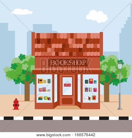 Bookstore and trees on the background of the city. Illustration in a flat style. Vector, EPS10