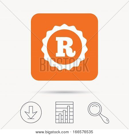 Registered trademark icon. Intellectual work protection symbol. Report chart, download and magnifier search signs. Orange square button with web icon. Vector