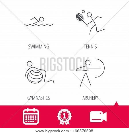 Achievement and video cam signs. Swimming, tennis and gymnastics icons. Archery linear sign. Calendar icon. Vector