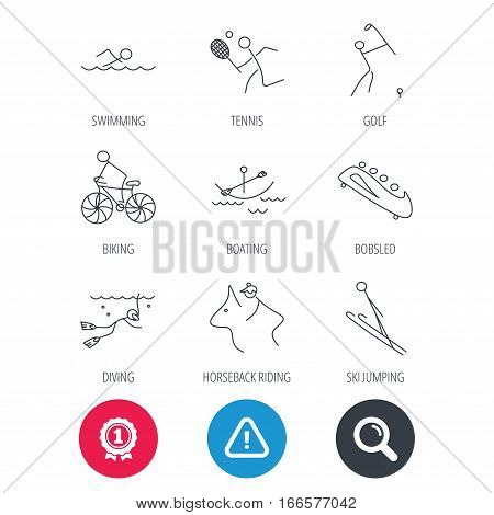 Achievement and search magnifier signs. Swimming, tennis and golf icons. Biking, diving and horseback riding linear signs. Ski jumping, boating and bobsleigh icons. Hazard attention icon. Vector