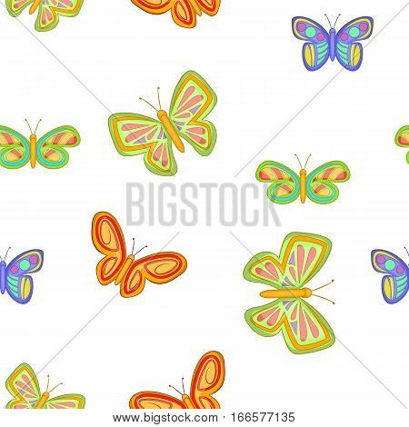 Insects butterflies pattern. Cartoon illustration of insects butterflies vector pattern for web