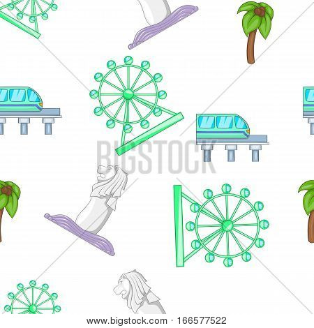 Holiday in Singapore pattern. Cartoon illustration of holiday in Singapore vector pattern for web