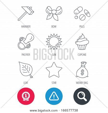Achievement and search magnifier signs. Money bag, star and bow icons. Leaf, pacifier and sun linear signs. Cupcake, pills and hammer flat line icons. Hazard attention icon. Vector