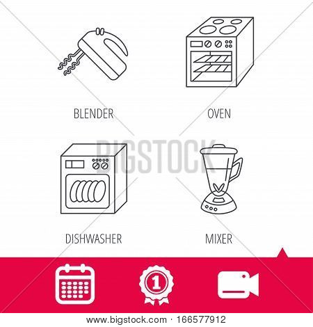 Achievement and video cam signs. Dishwasher, oven and mixer icons. Blender linear sign. Calendar icon. Vector