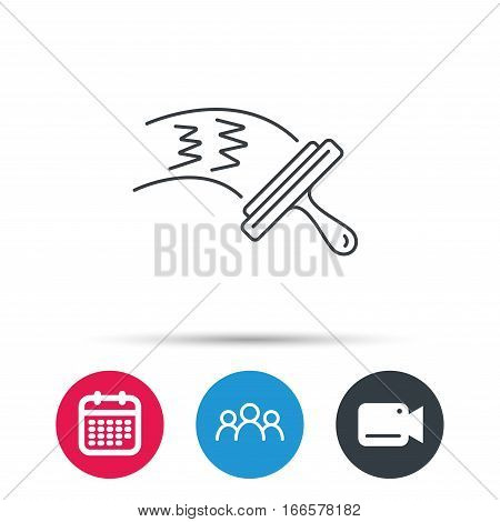Washing windows icon. Cleaning sign. Group of people, video cam and calendar icons. Vector