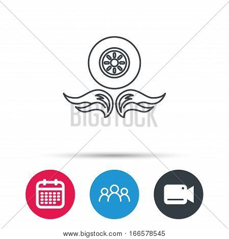 Car wheel icon. Fire flame symbol. Group of people, video cam and calendar icons. Vector