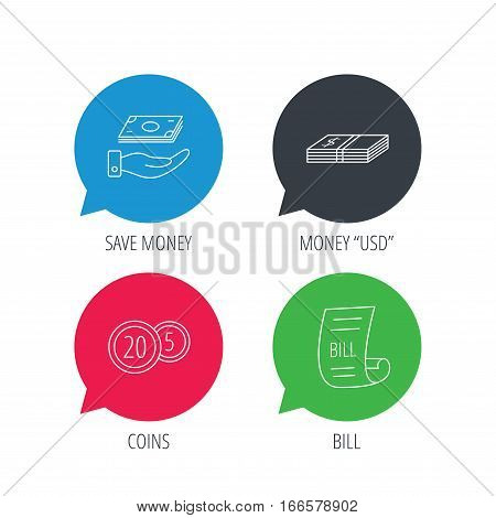 Colored speech bubbles. Save money, cash money and bill icons. Coins linear sign. Flat web buttons with linear icons. Vector