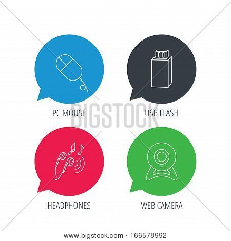Colored speech bubbles. Web camera, USB flash and PC mouse icons. Headphones linear sign. Flat web buttons with linear icons. Vector