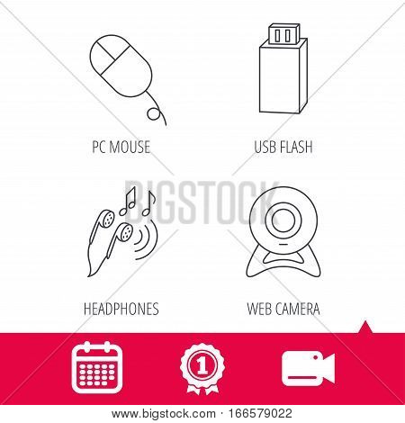 Achievement and video cam signs. Web camera, USB flash and PC mouse icons. Headphones linear sign. Calendar icon. Vector