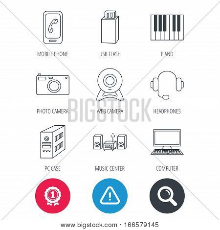 Achievement and search magnifier signs. Photo camera, headphones and Usb flash icons. PC case, computer with monitor and web camera linear signs. Piano icons. Hazard attention icon. Vector