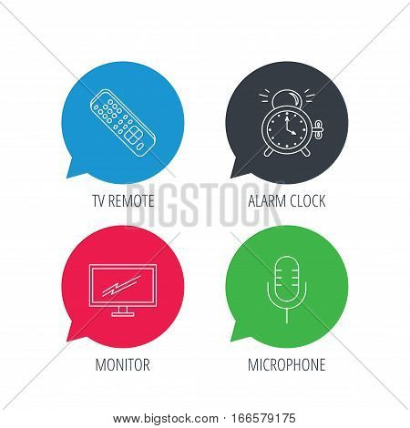 Colored speech bubbles. Microphone, alarm clock and TV remote icons. Widescreen TV linear sign. Flat web buttons with linear icons. Vector