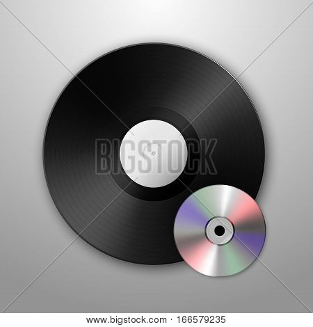 Realistic music gramophone vinyl LP record and cd icons. Design template. . Vector EPS10 illustration.