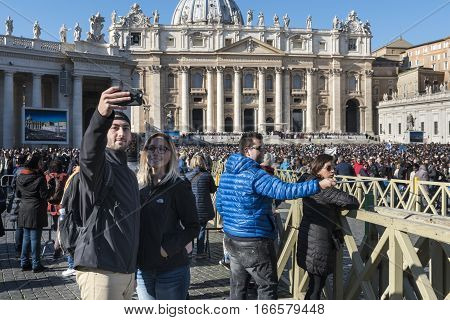 VATICAN CITY VATICAN - NOVEMBER 16: Pope Francis holds a General Audience on st. Peter's square filled with many pilgrims from all over the world