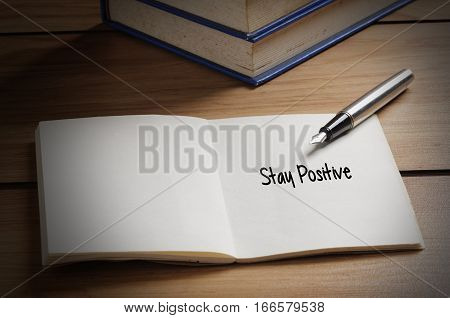 Stay Positive Word On Book