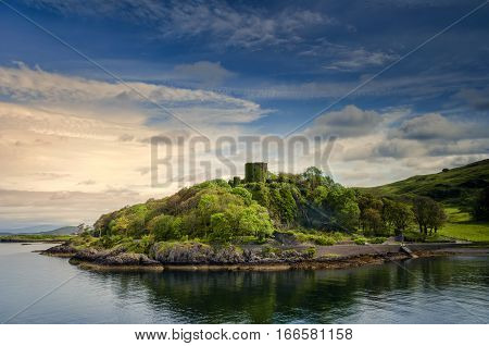 Dunollie Castle in sunny weather Oban Scotland